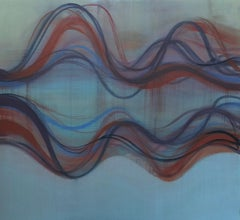 Vesper, Large Abstract Painting with Undulations in Shades of Blue with Dark Red
