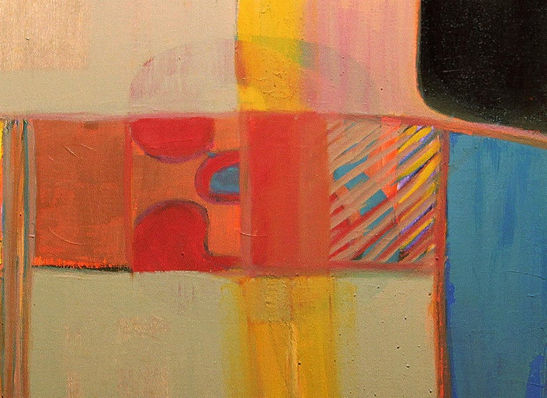 Abstract Blue, Red and Yellow Cubist Oil Painting  - Brown Abstract Painting by Margaret Nobler
