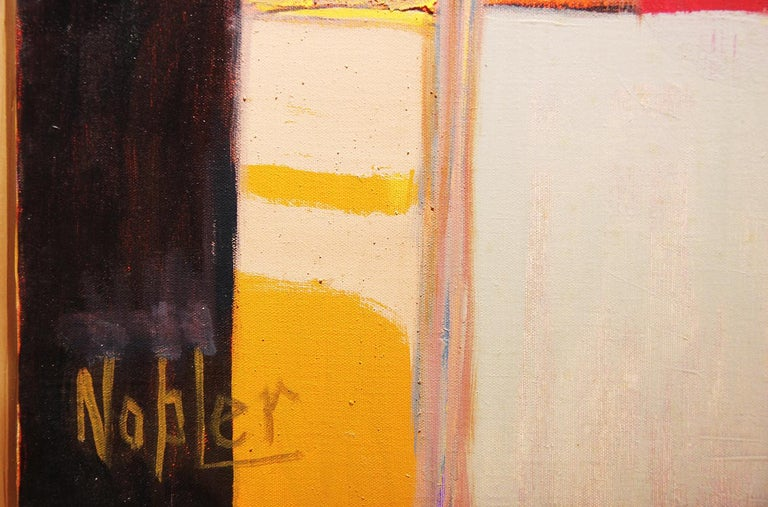Abstract geometric painting from Margaret Nobler's estate. Oil painting with blue, black, yellow, and orange cube shapes. Currently displayed in natural wooden frame.  Dimensions Without Frame: W: 22 in. x H 22 in.  Artist Biography: Margaret Nobler