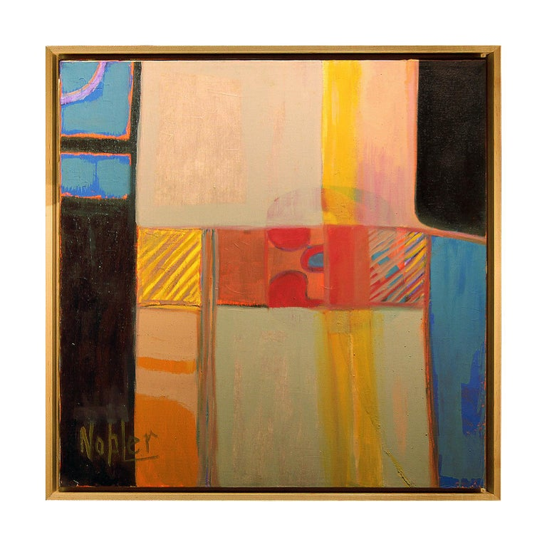 Margaret Nobler Abstract Painting - Abstract Blue, Red and Yellow Cubist Oil Painting