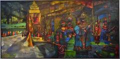 """The Pavillion""  Mid Century Modern Texas Painting Large Deep Blues"