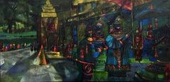 """""""The Pavillion""""  Mid Century Modern Texas Painting Large"""