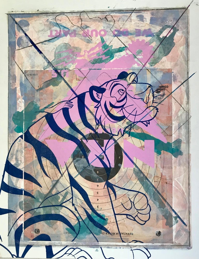 "Margaret Roleke, Fairytale 2018. Monoprint with collage, silkscreen  12.25"" x 8. - Pop Art Print by Margaret Roleke"