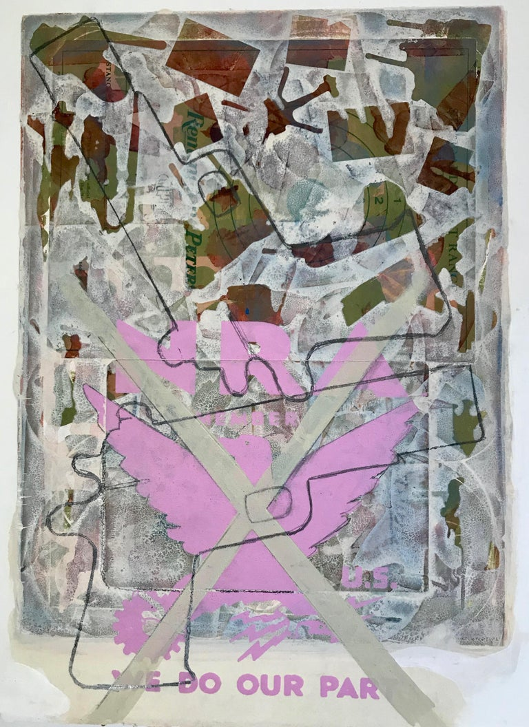 "Margaret Roleke, Fairytale 2018. Monoprint with collage, silkscreen  12.25"" x 8. - Gray Still-Life Print by Margaret Roleke"