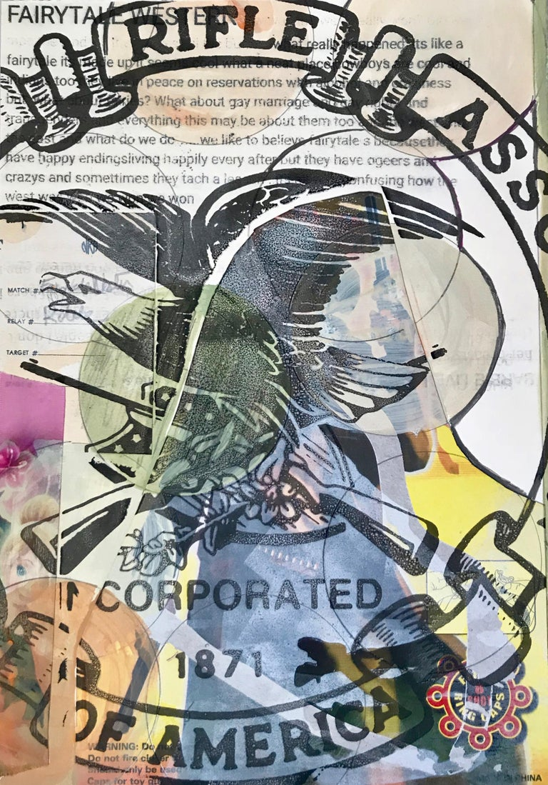 "Margaret Roleke, Fairytale 2018. Monoprint with collage, silkscreen  12.25"" x 8. - Print by Margaret Roleke"