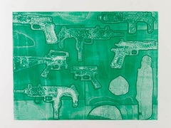 Margaret Roleke, Monochromatic Guns, 2015, monoprint, 22 x 30 in