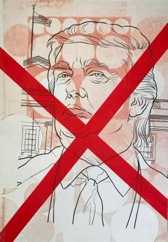 "Margaret Roleke, No Trump 2018   monoprint with silkscreen  15"" x 10.5"""