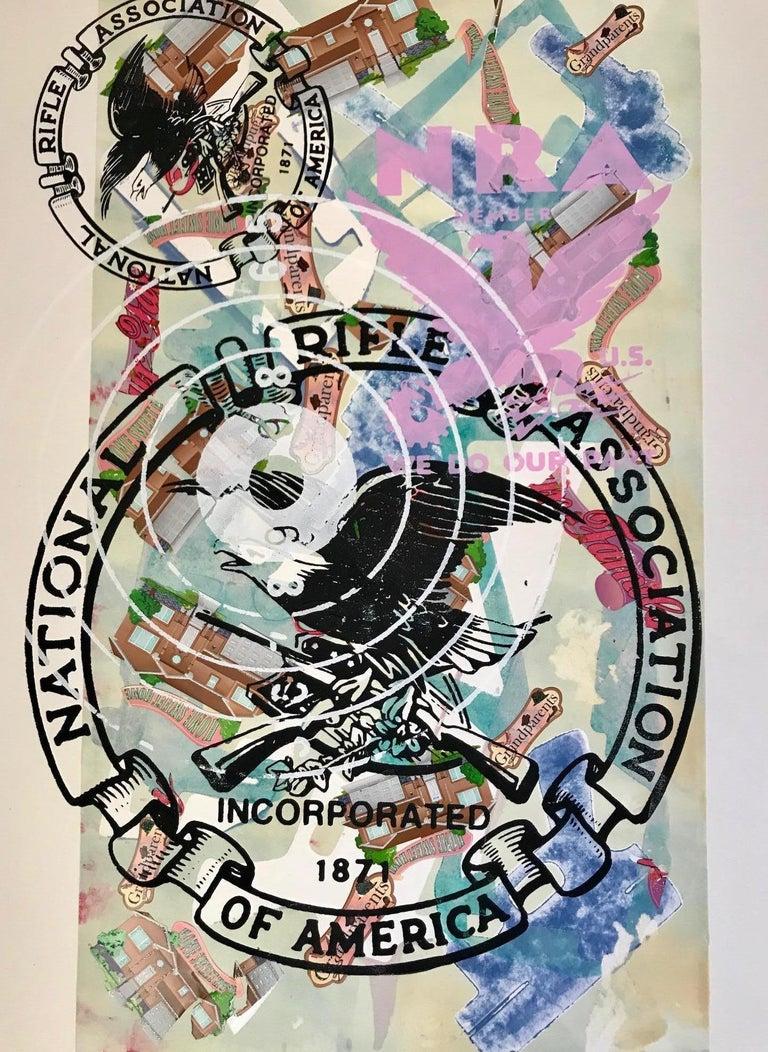 Margaret Roleke, NRA: Home Sweet Home, monoprint, stickers, silkscreen, 15 x 22 - Print by Margaret Roleke