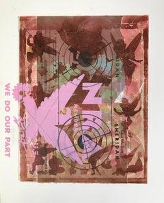 Margaret Roleke, Paper Target Series: Fairies/ No 2018 monoprint, silkscreen