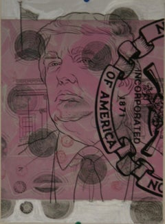 Margaret Roleke, Pink One, 2019, etching, silkscreen, acrylic, xerox, stamping