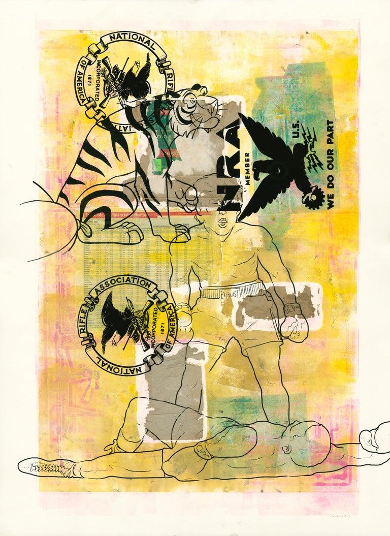 Margaret Roleke, We Do Our Part, 2018, monoprint, collage, silkscreen, 30 x 22  - Print by Margaret Roleke