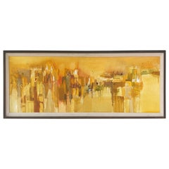 "Margaret Smith ""Near the Zócalo"" Abstract Impressionist Cityscape Oil Painting"