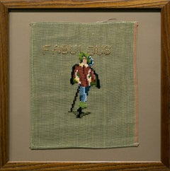 """""""Fabulous"""", Textile, Fabric, Canvas, Neutral Colors, Beige, Green, Red, Text"""