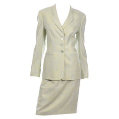 Margaretha Ley Escada Blue & Yellow Woven Silk & Wool Blend Skirt & Jacket Suit