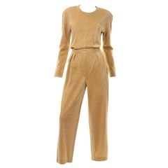 Margaretha Ley Escada Gold Lurex Vintage Evening Party Jumpsuit
