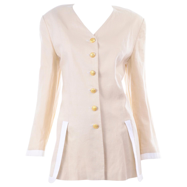 Margaretha Ley Vintage Escada Linen Blazer Jacket with White Trim & Gold Buttons