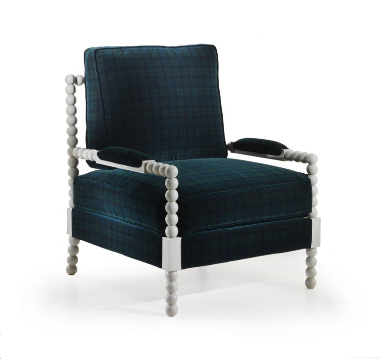 Margaritas_lounge armchair in fabric art oban green It has a upholstered cushions and grey lacquered with patina finish.  Dimensions: W 79 x D 89 x H 103 cm.  This item has been individually handmade by our master craftsmen. Any irregularities or