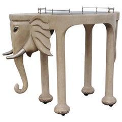 Marge Carson Carved Wood Elephant Bar Cart