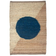Margeaux Blue Circle Geometric Handwoven Modern Jute Rug, Carpet and Durrie