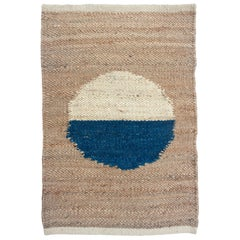 Margeaux Blue and White Circle Handwoven Geometric Jute Rug, Carpet and Durrie