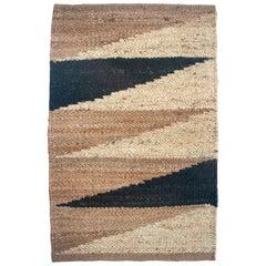 Margeaux Landscape Black Geometric Handwoven Modern Jute Rug, Carpet and Durrie