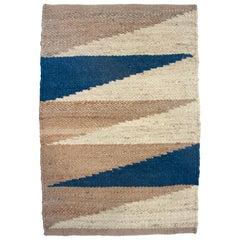 Margeaux Landscape Blue Geometric Handwoven Modern Jute Rug, Carpet and Durrie
