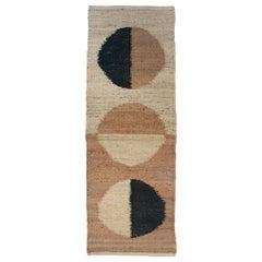 Margeaux Moon Black Modern Handwoven Geometric Jute Rug, Carpet and Durrie