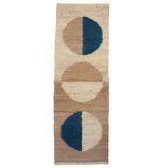 Margeaux Moon Blue Modern Handwoven Geometric Jute Rug, Carpet and Durrie
