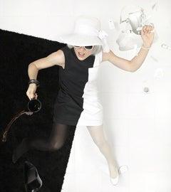 Borderline - Black & white minimal aerial fashion coffee spill, performance fall