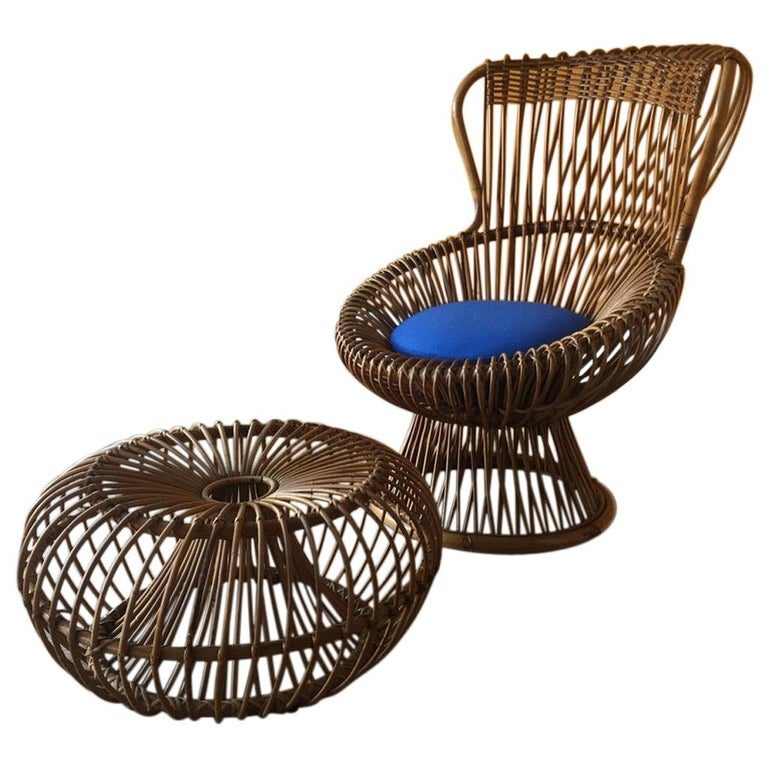 'Margherita' Armchair and Footstool, by Franco Albinia, circa 1951 For Sale