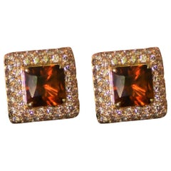 Margherita Burgener 18 Karat Gold Brown Diamond Citrine Quartz Clip Earrings