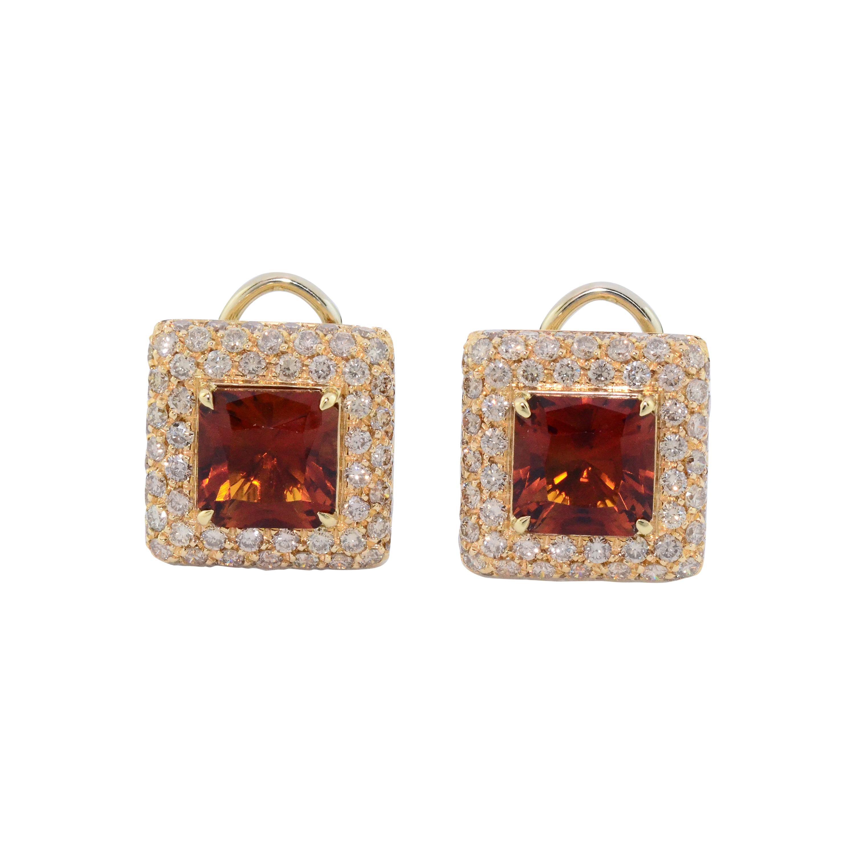 Citrine Quartz Brown Diamond Yellow Gold Earclips Earrings