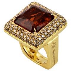 Margherita Burgener 18 Karat Gold Brown Diamond Citrine Quartz Cocktail Ring
