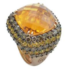 Margherita Burgener 18 Karat Gold Brown Diamond Yellow Sapphire Citrine Ring
