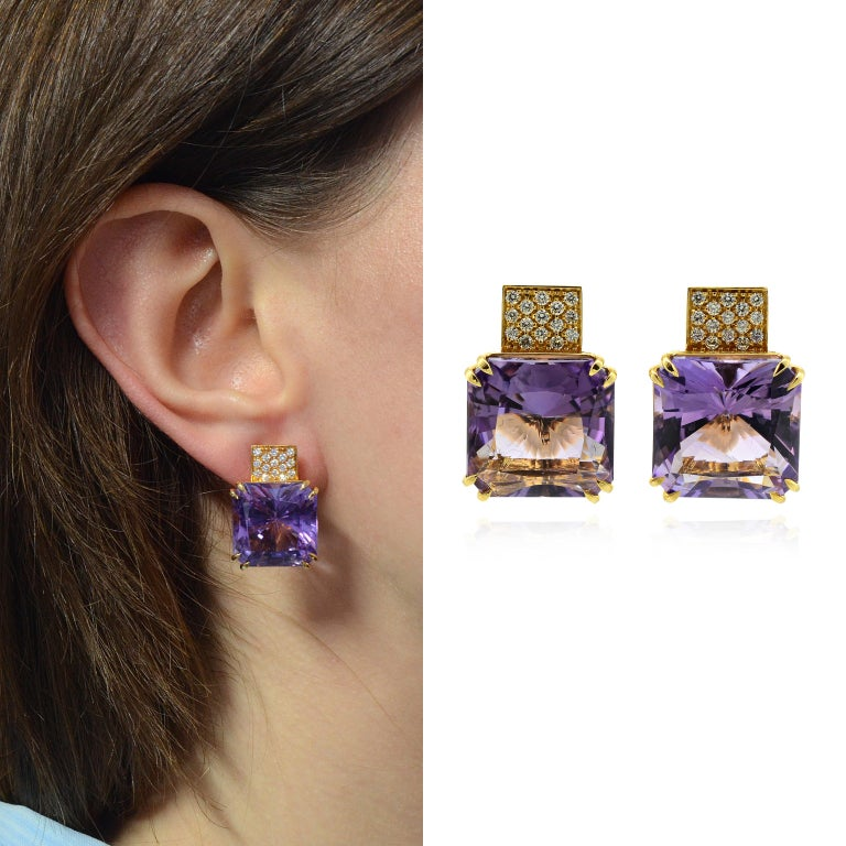 Handcrafted in 18K yellow gold, with fitting and clips. Weight of gold grams 16.14 - number 30 diamonds for total carat weight 0.30 Number 2 amethyst total carats 22.30  Made in Italy The diamonds we use are natural diamonds and not Synthetic. The