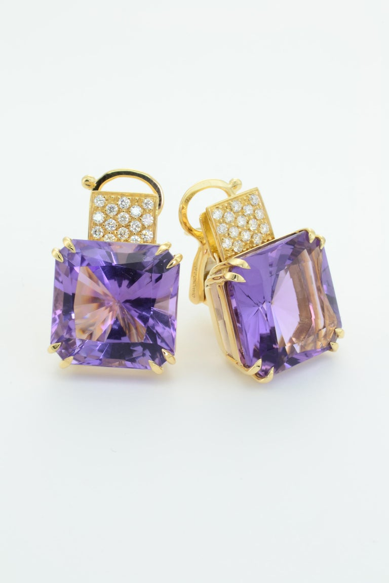 Contemporary Margherita Burgener 18 Karat Gold Diamond Amethyst Clip Earrings For Sale
