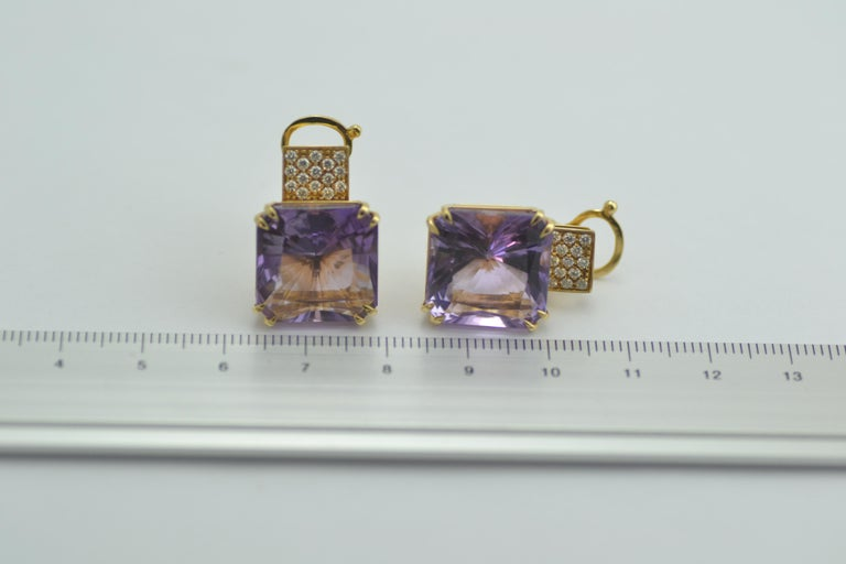 Round Cut Margherita Burgener 18 Karat Gold Diamond Amethyst Clip Earrings For Sale