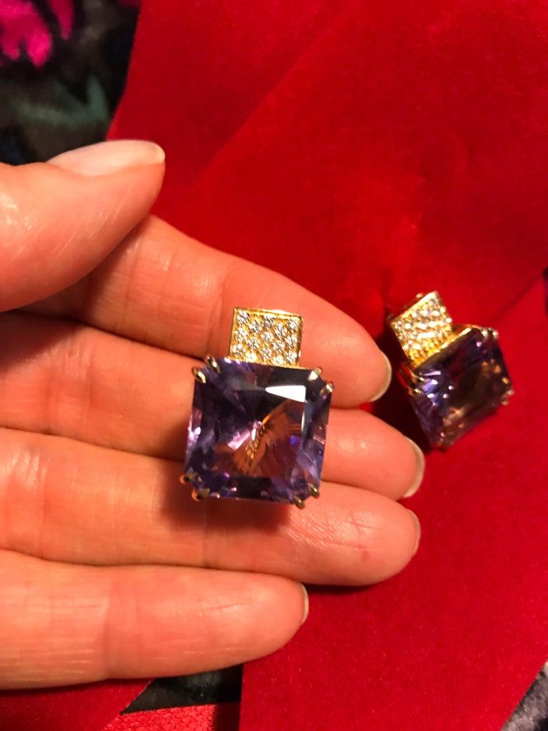 Margherita Burgener 18 Karat Gold Diamond Amethyst Clip Earrings For Sale 2