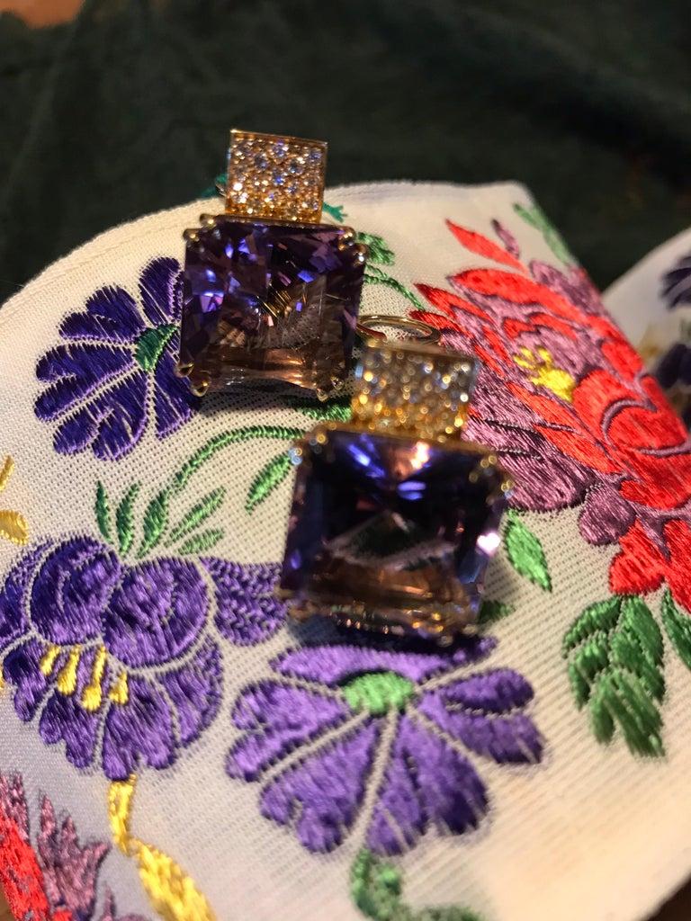 Margherita Burgener 18 Karat Gold Diamond Amethyst Clip Earrings For Sale 3