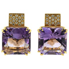 Margherita Burgener 18 Karat Gold Diamond Amethyst Clip Earrings