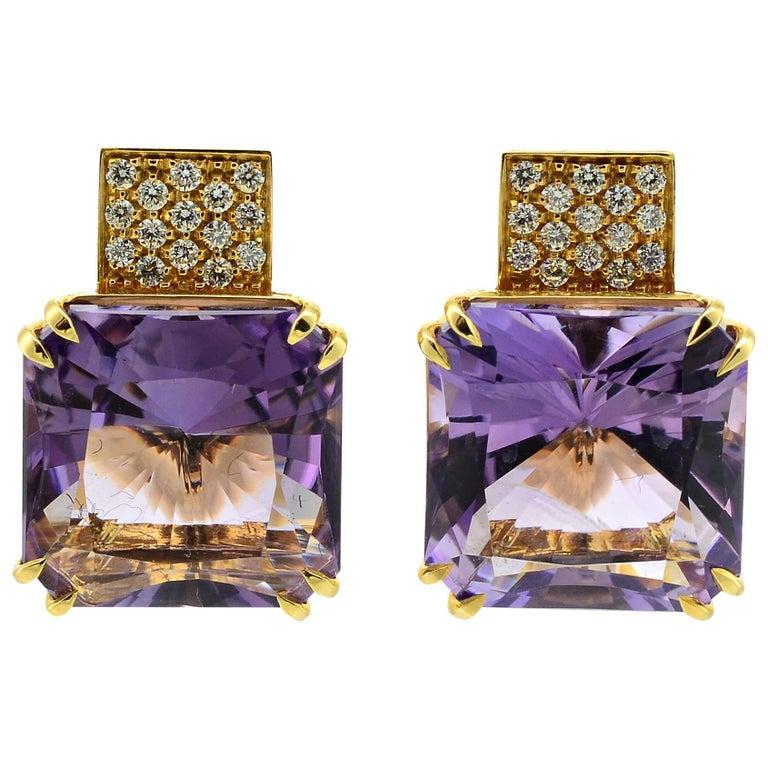 Margherita Burgener 18 Karat Gold Diamond Amethyst Clip Earrings For Sale