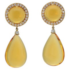 Made in Italy 18 Kt Yellow Gold Diamond Citrine Quartz  Earrings