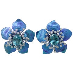 Margherita Burgener 18 Karat Gold Diamond  Starlite Blue Titanium Earrings