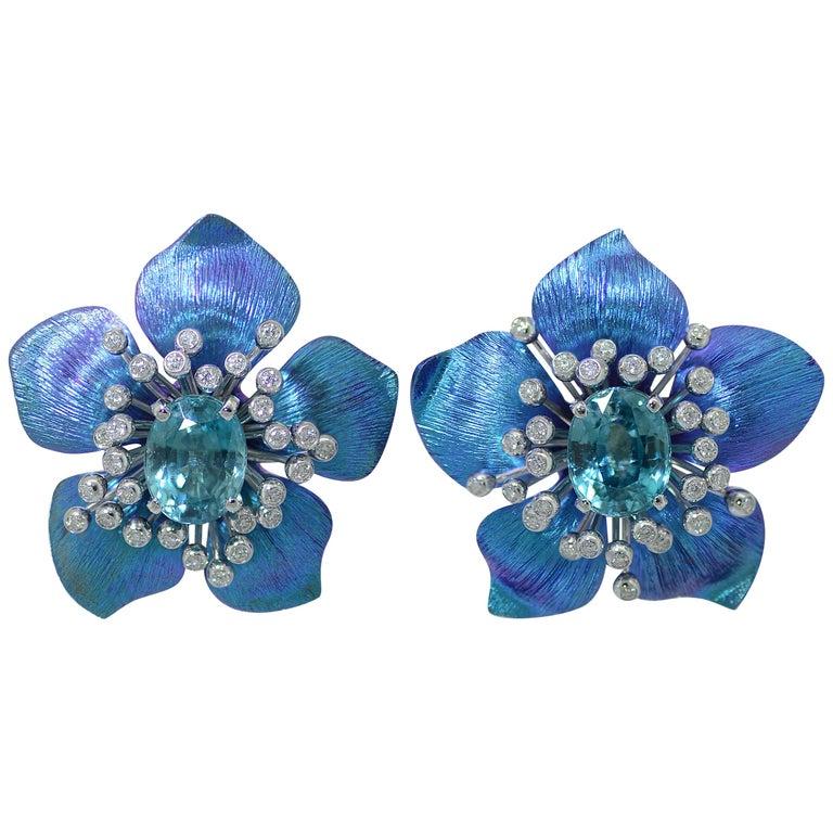 Margherita Burgener 18 Karat Gold Diamond  Starlite Blue Titanium Earrings For Sale