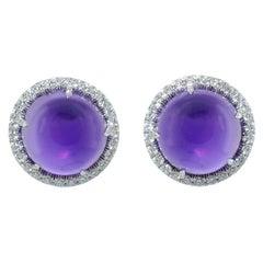 Margherita Burgener 18 Karat Gold Diamond Round Cabochon Amethyst Earrings