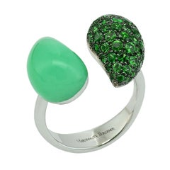 Chrysoprase Tsavorite 18 Kt White Gold Diamond Ring