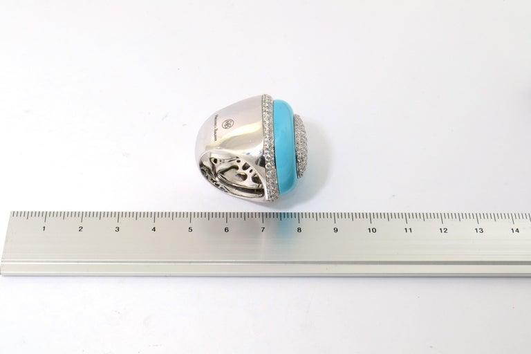 Round Cut Margherita Burgener 18 Karat Gold Diamond Turquoise Cocktail Ring For Sale