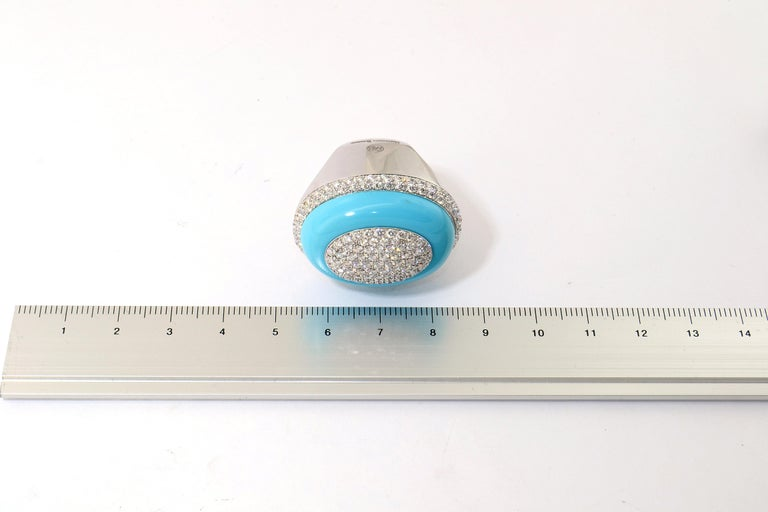 Margherita Burgener 18 Karat Gold Diamond Turquoise Cocktail Ring In New Condition For Sale In Valenza , IT