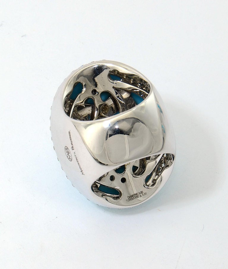 Women's Margherita Burgener 18 Karat Gold Diamond Turquoise Cocktail Ring For Sale