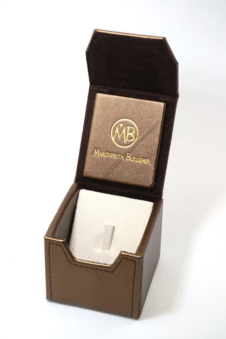 Margherita Burgener 18 Karat Gold Diamond Turquoise Cocktail Ring For Sale 2